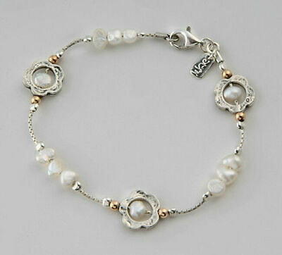 Amazing SHABLOOL ISRAEL Didae Handcrafted Sterling Silver 925 Pearl Bracelet