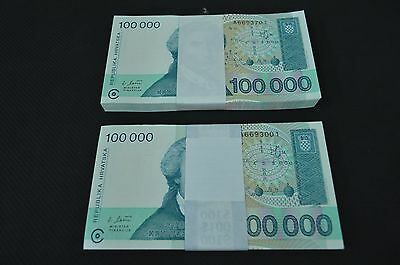 Lot of 150 Uncirculated 1993 Croatia 100,000 Dinar Notes 50 & 100 Consecutive