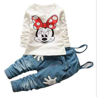 New 2pcs Kids Baby Girls  Long Sleeve T-shirt + Denim Pants Outfit