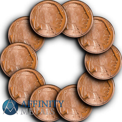 10 Coins-  Buffalo Nickel 1/2 oz .999 Copper Bullion Rounds