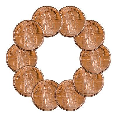 10 Coins-  Standing Liberty 1/2 oz .999 Copper Bullion Rounds