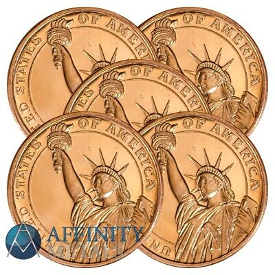5 Coins-  Statue of Liberty 1/2 oz .999 Copper Bullion Rounds