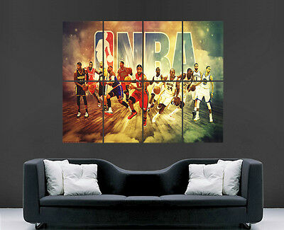 Nba Basketball Poster Legends Miami Lakers Chicago Bulls Art Wall Large  Usa