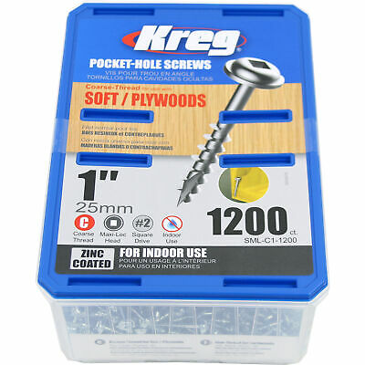 Kreg SML-C1-1200 1-inch Coarse Thread Washer Head Pocket Hole Screws, 1200-Pack