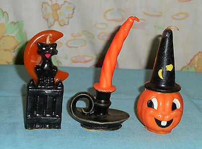 vintage Halloween GURLEY CANDLE LOT OF 3 cat/fence/moon jol wearing hat lamp