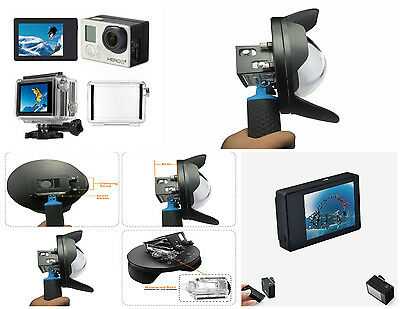 6'' Underwater Dome Port Lens Hood + LCD Bacpac Display for Gopro Hero 3+ 4