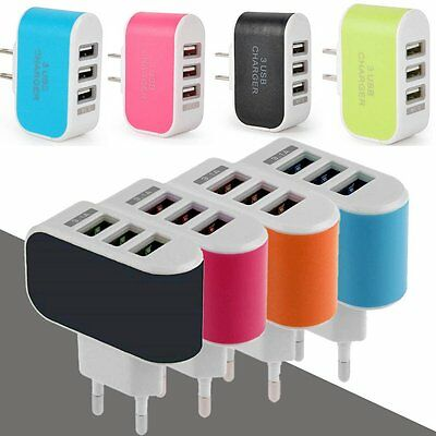 3-Port USB Wall Home Travel AC LED Power Charger Adapter 3.1A For iPhone EU/US