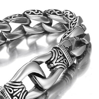 MENDINO Men's 316L Stainless Steel Bracelet Handcuffs Dragon Bangle Chain Silver