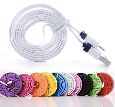 45x lot 6 ft Flat Noodle 8 pin USB Data Charging Cable for iPhone 5 6 6S iPad5