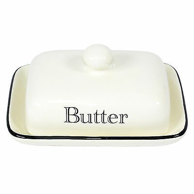 Butter Dish with Lid Ceramic Vintage Cream & Black Serving Bowl Dining Table