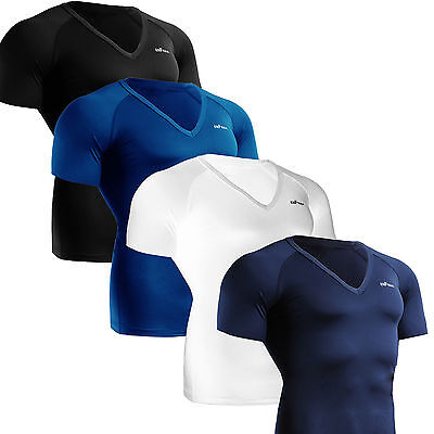 Mens Womens BASELAYER Compression V-neck shirts Tight under short sleeve Top