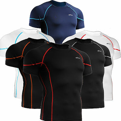 Mens Womens BASELAYER Compression shirts Tight under short sleeve Top S~2XL