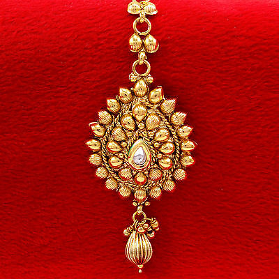Goldplated Traditional Indian Women Ethnic Forehead Maang Tikka Bollywood Jewelr