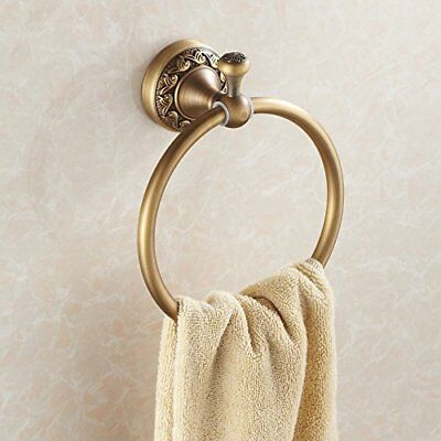 Antique Brass Bath Towel Ring Rack Towel Shelf Wall Mount Lavatory Accessories