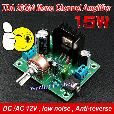 AC/DC 12V 9V-15V TDA2030A Mono Channel 15W 4Ω-8Ω Audio Power Amplifier Board
