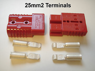 PAIR ANDERSON SB 175 AMP CONNECTORS 25mm CABLE TERMINALS 4 AWG, VW CAMPER T4 T25