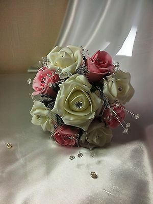 Wedding Flower Girl Bridesmaid Wand Pink Ivory Ribbons Pearls Diamante Spray