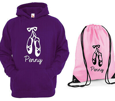 Personalised Girls Ballet Shoes Purple Hoody And Baby Pink Pull String Bag Set
