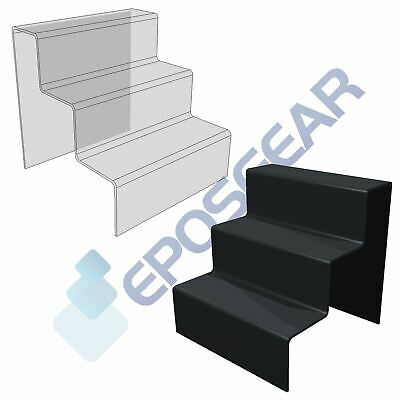 3 Step Tier Clear Black White Acrylic Perspex Retail Counter Display Riser Stand
