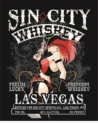 Sin City Whiskey Las Vegas Tin Metal Sign  2 - 13 Post Flat Rate $15