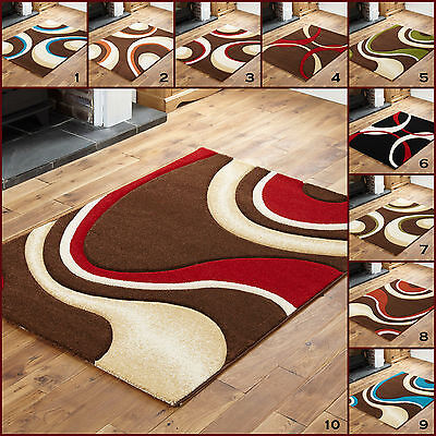 Medium Small BLACK RED Multi Hand Carved 12MM SWIRL Design  CONTEMPORARY Rugs