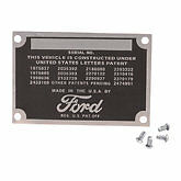 Ford data plate