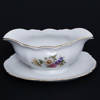 "Gravy Boat with Attached Underplate Meissen Floral Mitterteich Germany 9"" Long"