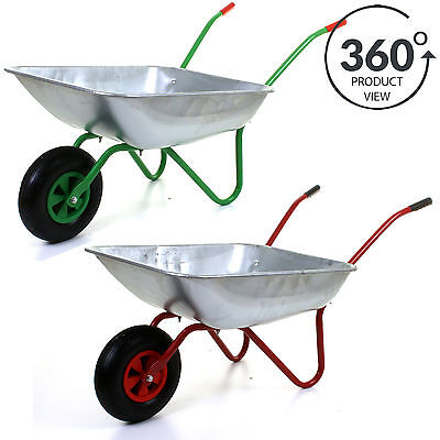 "65L Metal Heavy Duty Galvanised Wheelbarrow 12"" Pneumatic Inflatable Tyre Garden"