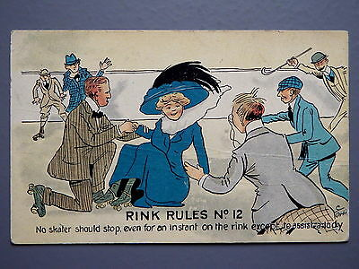 R&L Postcard: Comic, Photochrom, Rink Rules No.12 Roller Skating, Edwardian