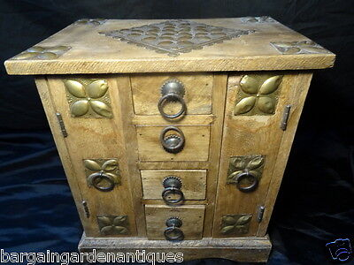 Antique Indian Asian Hardwood Coin Collectors Small Cabinet Chest