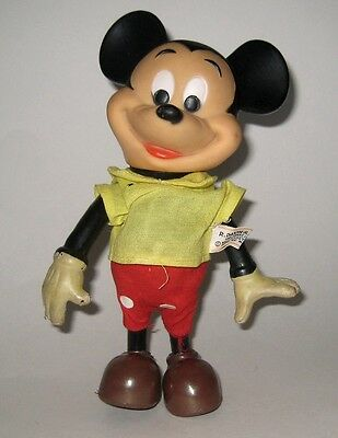 Vintage Disney Productions Mickey Mouse Jointed Vinyl Figure Fully Jointed 1960s
