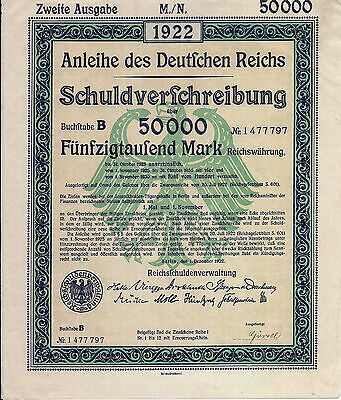 Germany. Treasury Bond 50,000 Marks 1922 with full coupons sheet uncancelled