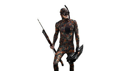 Tilos Spearfishing Hooded Lycra Shirt & Pants Rashguard Stinger Suit -Camo Brown