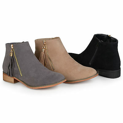 Brinley Co. Womens Side Zip Faux Suede Ankle Boots