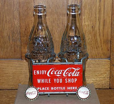 1950's Coca-Cola COKE 2 bottle metal rack/carrier sign w/bonus FREE SHIPPING!