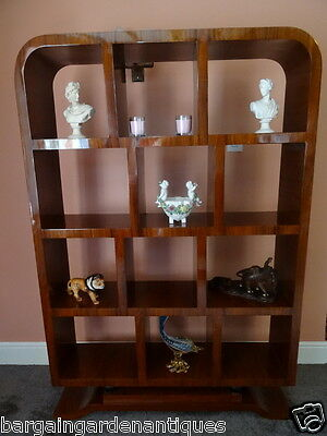 Stunning French Art Deco Style Large Curved Walnut Library Study Bookcase
