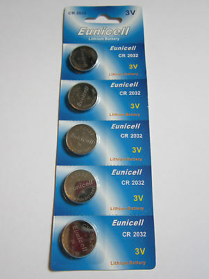 5x Eunicell CR2032 CR 2032 - 3V Lithium Button Cell Battery Batteries - NEW