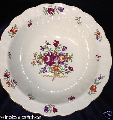 "Booths China England Lowestoft Round Serving Bowl 9 1/8"" Floral Sprays"