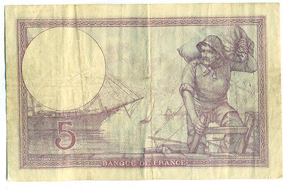 1918 5 Francs (France) Note-Very Fine (Catalouge # 72a)