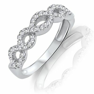 Infinity Simulated Diamonds Eternity Stackable Sterling Silver Band Ring