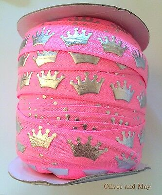 """Princess Crown FOE Foldover Elastic 5/8"""" 16mm By the metre Hair Tie Party Favors"""