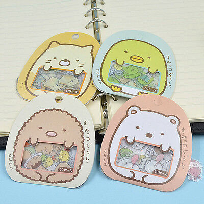 50pcs/Pack Japanese Sumikko Gurashi Cute Anlimals PVC Sticker Flakes Bag Decals