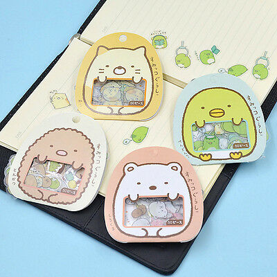 50pcs Japanese Sumikko Gurashi Cute Anlimals Transparent PVC Sticker Flakes Bag