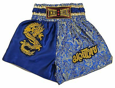 Thai Boxing Shorts, Blue, manufactured and imported from Thailand (80031)