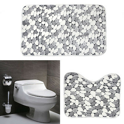 Set of 2 Soft Cotton Bath Pedestal Mat Toilet Non Slip Washable Floor Rugs UK