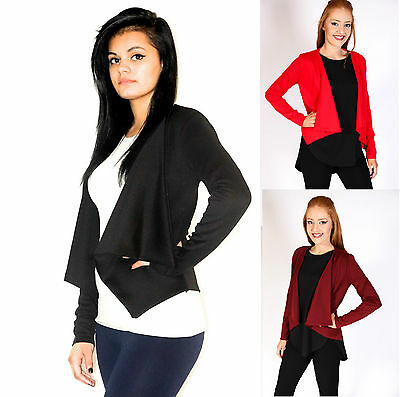 Womens Open Smart Crop Office Ladies Casual Fitted Suit Blazer Jacket 8-14
