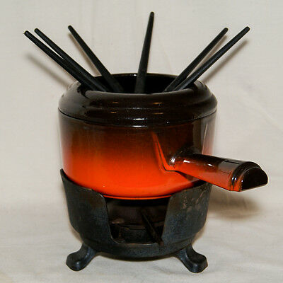 Staub Service Fondue Party Set Vintage 70's Fonte Emaillee