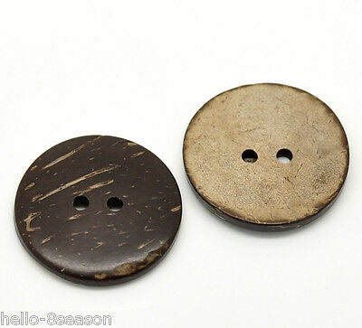 30PCs Hot Brown Coconut Shell 2 Holes Sewing Buttons Scrapbooking 30mm