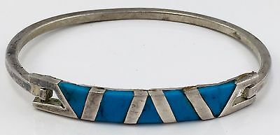 Vintage Genuine Turquoise And Alpaca Bracelet Good Deal Mexico Mexican