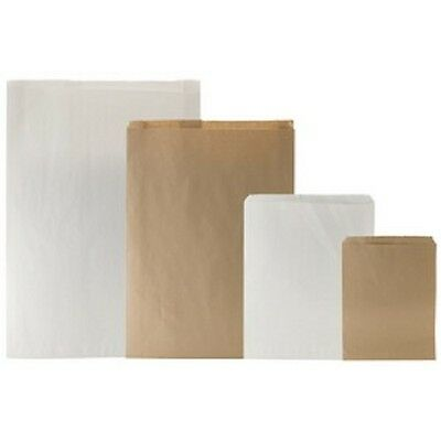 Lots of 100 White Or Brown Kraft Merchandise Bags Gift Bags Store Bags Paper Bag